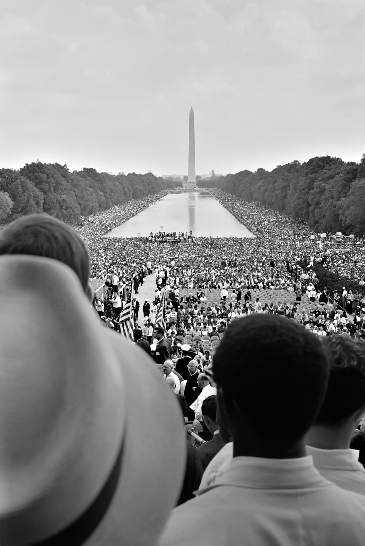 Crowd Surrounding the Reflecting Pool