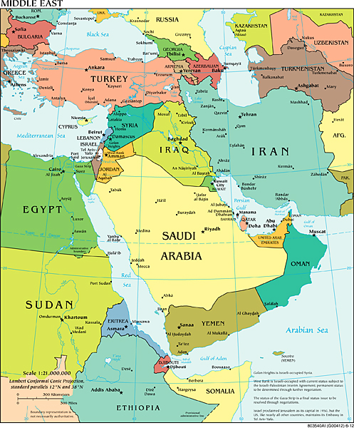 Map of the Middle East from the CIA World Factbook. Public domain via cia.gov.