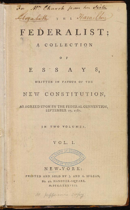 Title page of the first printing of the Federalist Papers, 1788.
