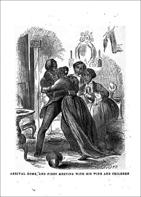 Illustration from the 1855 edition of Twelve Years a Slave, depicting Northup's joyous return home. Courtesy of the Internet Archive.