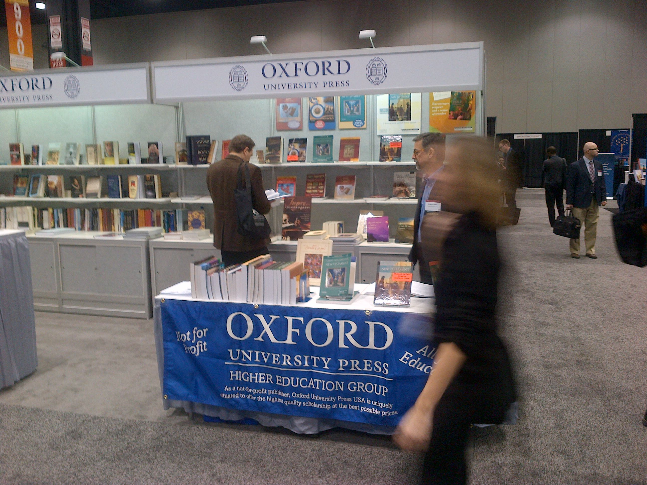 Oxford's booth from American Academy of Religion/Society for Biblical Literature 2012. Photo courtesy of Theo Calderara