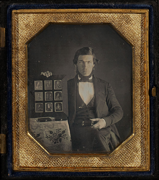 Unknown maker, American, daguerreotypist Portrait of Unidentified Daguerreotypist, 1845, Daguerreotype, hand-colored 1/6 plate Image: 6.7 x 5.2 cm (2 5/8 x 2 1/16 in.) Mat: 8.3 x 7 cm (3 1/4 x 2 3/4 in.) The J. Paul Getty Museum, Los Angeles