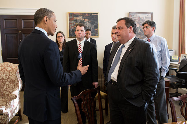 United States President Barack Obama with New Jersey Governor Chris Christie and members of his staff in Chief of Staff Jack Lew's office in the West Wing of the White House on 6 December 2012. Photo by Pete Souza. Courtesy of the White House.