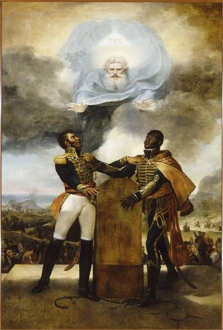 Le serment des ancêtres. This 1822 painting by the Guadeloupean painter Guillaume Guillon Lethière, representing Alexandre Pétion and Jean-Jacques Dessalines, was housed in Haiti's presidential palace until it was damaged during the 2010 earthquake. Public domain via Wikimedia Commons.