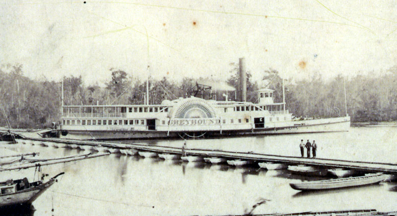 Photograph of the sidewheeler Greyhound. The original photograph is at the Mariners Museum in Newport News, Virginia. As the Greyhound was destroyed in November, 1864, this photograph is at least 140 years old. Public domain via Wikipedia.
