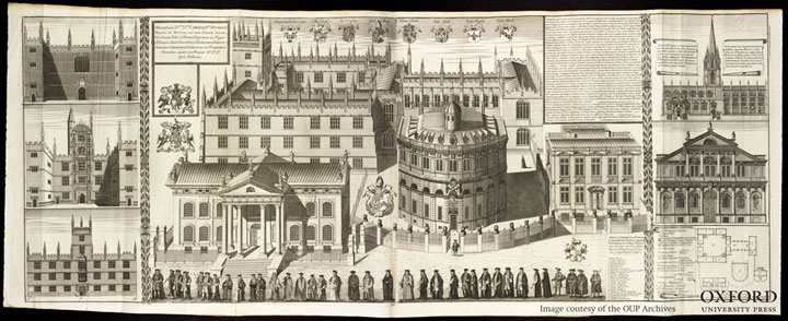 The University processes in fron of the Sheldonian Theatre and Clarendon Printing House, 1733 (William Williams, Oxonia depicta, plate 6)