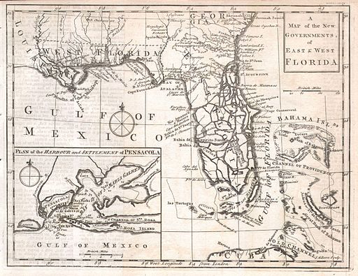 A Map of the New Governments, of East & West Florida, 1763.