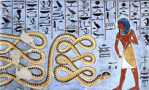 Apep being warded off by a deity.