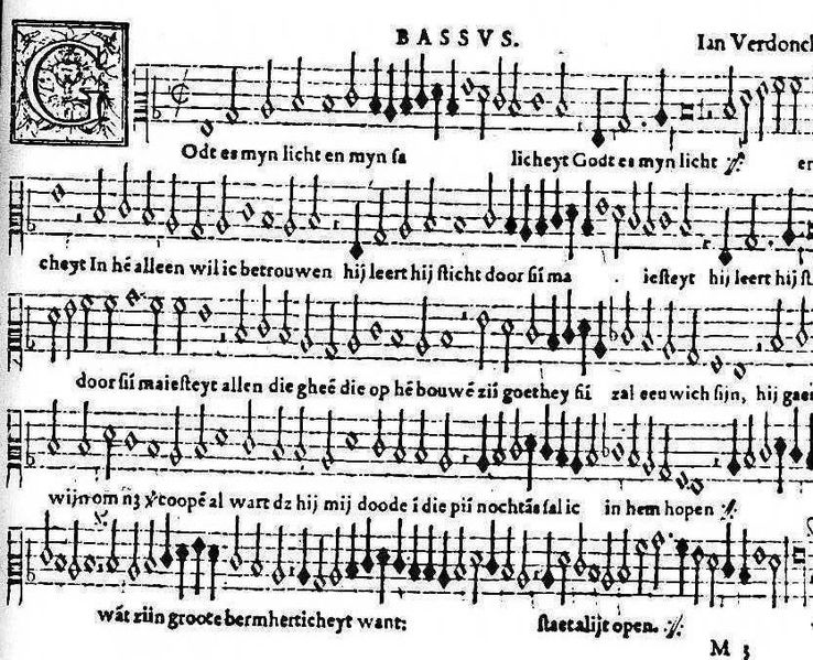 An example of early Western music staff notation. Jan Verdonck, bass part from 'Godt is mijn licht', 1571