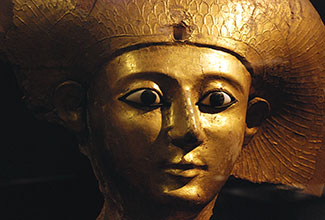 The sarcophagus lid of Queen Sitdjehuti in the Staatliches Museum Ägyptischer Kunst. (Munich, Germany) Sitdjehuti was the wife of pharaoh Seqenenre Tao II from Egypt's 17th dynasty.
