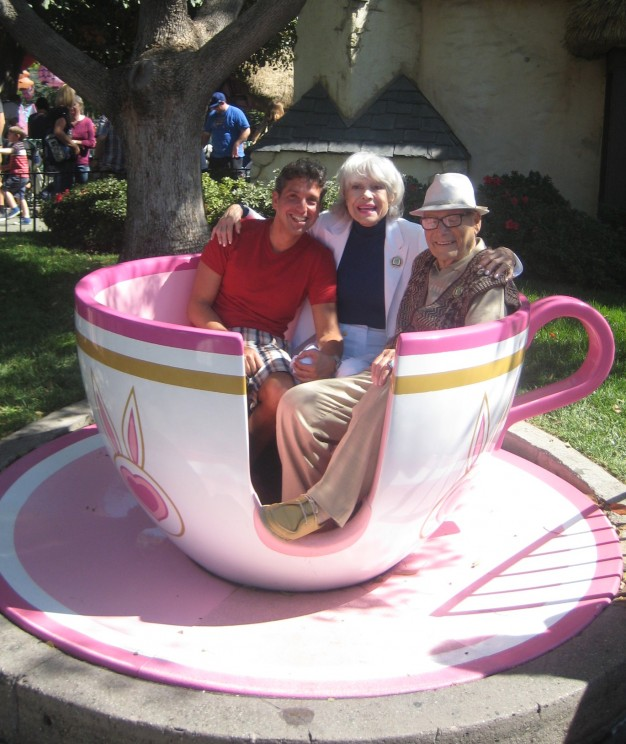 Author Eddie Shapiro, Carol Channing, and her husband Harry Kullijian at Disneyland. Photo courtesy of Eddie Shapiro.