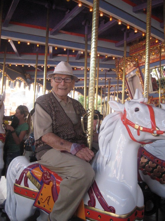 Harry Kullijian, Carol Channing's husband, on the carousel. Photo courtesy of Eddie Shapiro.