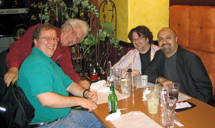 From left to right, author Mark Vail, synth pioneer Bob Moog, Seattle synthesist Dave Gross, and synthesist/composer Amin Bhatia.
