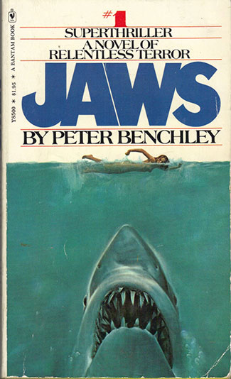Jaws by Peter Benchley, first edition paperback, 1975.