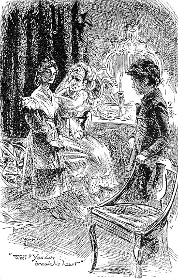 Miss Havisham, Pip, and Estella, in art from the Imperial Edition of Charles Dickens's Great Expectations. Art by H. M. Brock. Public domain via Wikimedia Commons