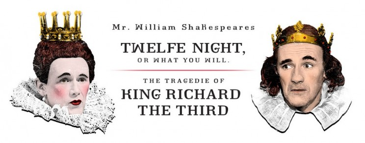 Mark Rylance (left) and Stephen Fry (right) appear in the Shakespeare's Globe productions of Twelfth Night and Richard III, via Shakespeare Broadway.