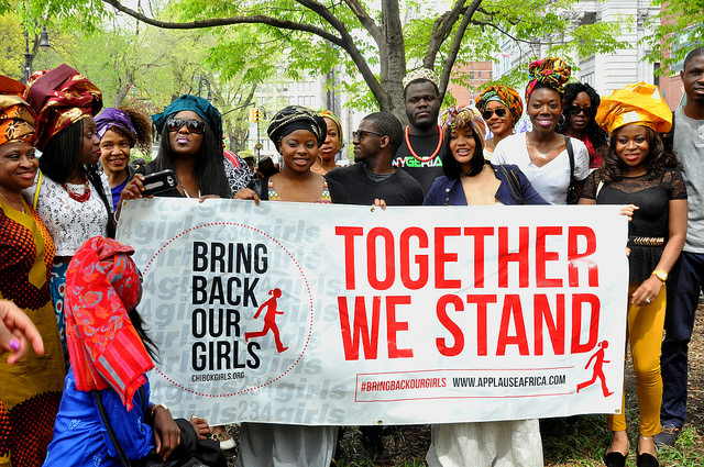 Hudreds of people gathered at Union Square in New York City on May 3 to demand the release of some 230 schoolgirls abducted by Boko Haram insurgents in Nigeria. Photo by Michael Fleshman. CC BY-NC 2.0 via fleshmanpix Flickr.