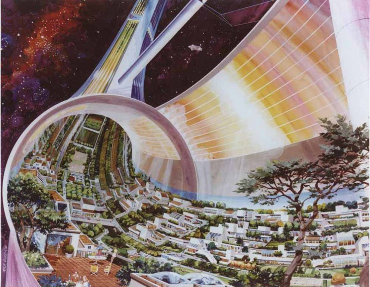 Space advocates in the 1970s envisioned a near future of Mars missions and permanent space colonies, like the one pictured here. With public and political support dwindling, however, NASA had to settle for the technologically impressive but much less ambitious shuttle program. Courtesy NASA Ames Research Center.