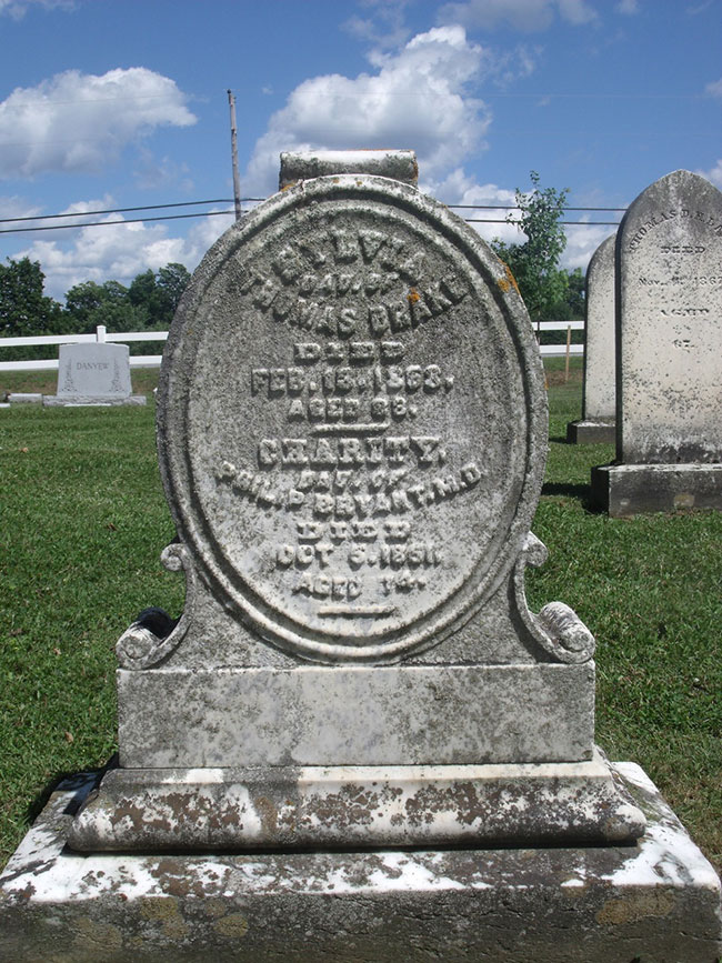 The grave of Charity Bryant and Sylvia Drake.