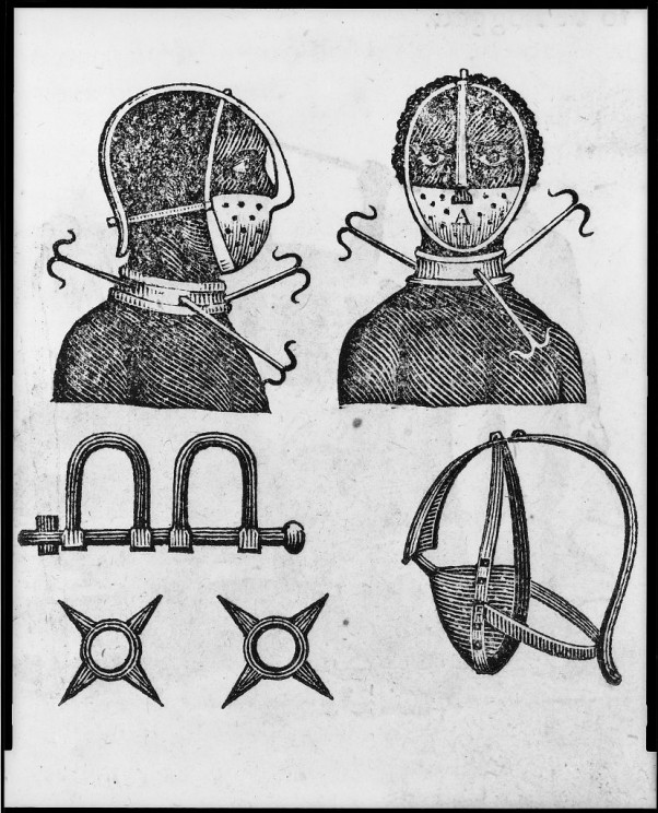 Iron mask, collar, leg shackles and spurs used to restrict slaves. Illus. in: The penitential tyrant / Thomas Branagan. New York : Samuel Wood, 1807. Library of Congress Rare Book and Special Collections Division