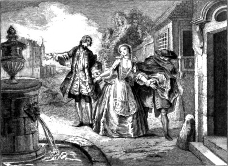Front page of L'École des femmes—engraving from the 1719 edition. Public domain via Wikimedia Commons.