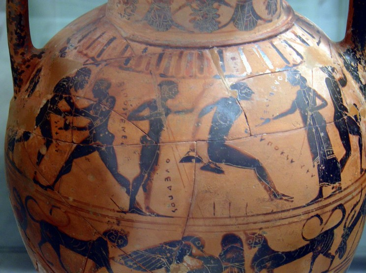 A competitor in the long jump, Black-figured Tyrrhenian amphora showing athletes and a combat scene, Greek, but made for the Etruscan market, 540 BC, found near Rome, Winning at the ancient Games, British Museum. Photo by Carole Raddato. CC BY-SA 2.0 via Wikimedia Commons.