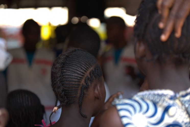 UNICEF and partners visit the crowded Marché Niger to continue explaining to families how to they can protect themselves from Ebola. We have visited many markets, churches, mosques, schools, and community centers throughout Conakry and in the Forest region where the outbreak began. CC BY-NC 2.0 via UNICEF Guinea Flickr.