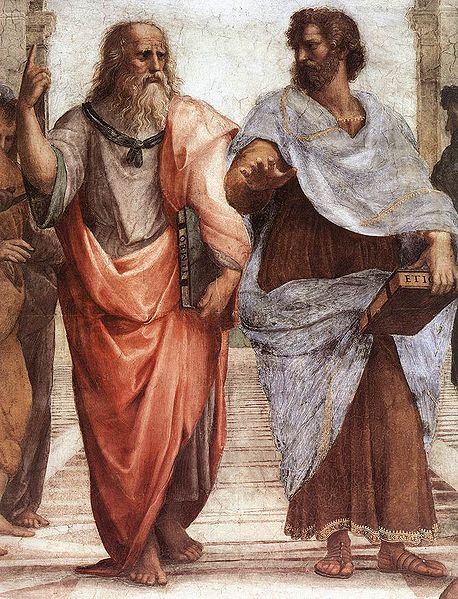 Plato and Aristotle, from the Palazzo Pontifici, Vatican. Public domain via Wikimedia Commons.