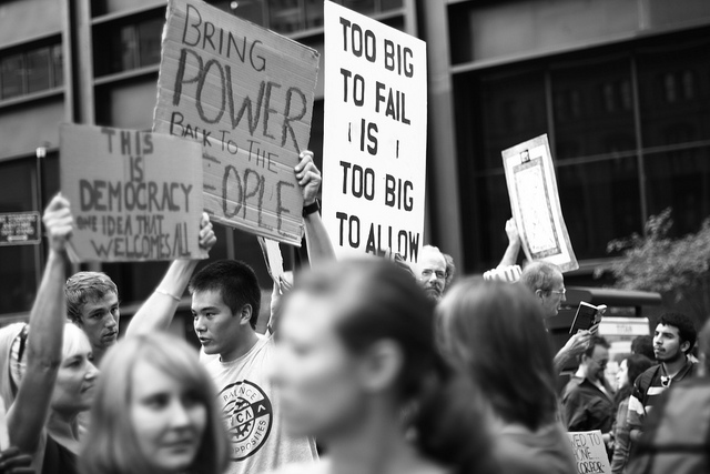 """""""Occupy Wall Street"""" by Aaron Bauer. CC BY 2.0 via Flickr."""