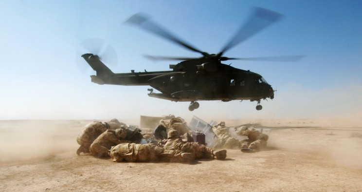 RAF Merlin Helicopter Supplies Troops in Iraq