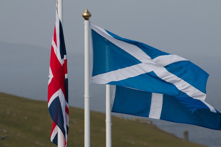 Union Jack and Scotland, by Julien Carnot. CC-BY-SA-2.0 via Flickr.