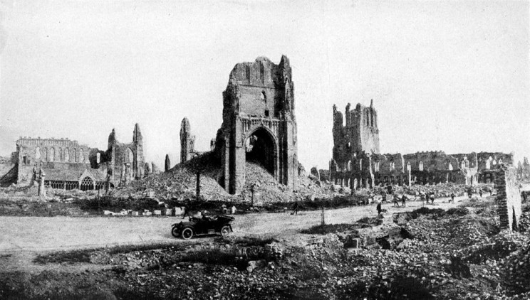 Ypres at the close of World War I. In the center is the cathedral tower. At the right, the Cloth Hall. Collier's New Encyclopedia, v. 10, 1921, between pp. 468 and 469 (3rd plate). Via Wikimedia Commons.