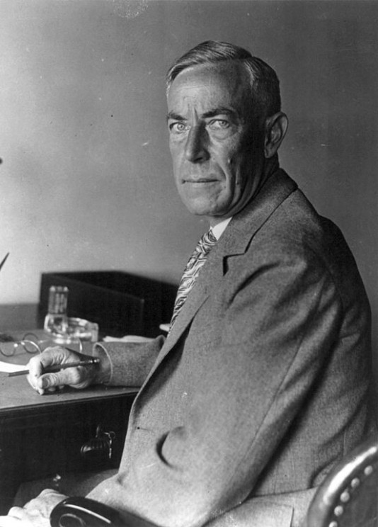 "August Vollmer, ""father of modern law enforcement,"" 6 September 1929, photo by Underwood & Underwood. Public domain via Library of Congress."