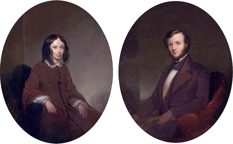 Portraits of Elizabeth Barrett Browning and Robert Browning by Thomas Buchanan Read, 1853 (Christie's). Public domain via Wikimedia Commons.