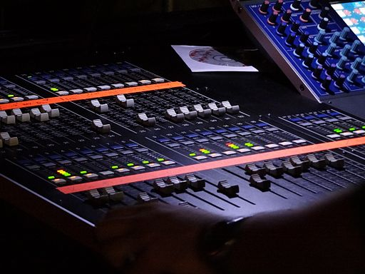 Yamaha M7CL digital live sound mixing console left half angled