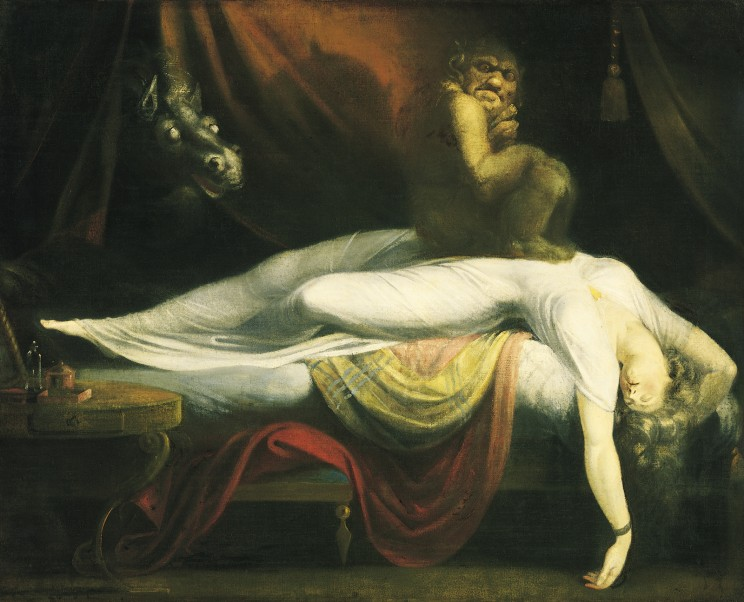 The Nightmare by Henry Fuseli, 1781. Public Domain via Wikiart.