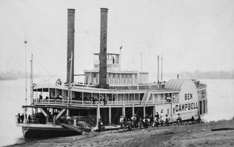 Image credit: A daguerreotype of a typical river paddle steamer from the 1850s. Public domain via Wikimedia Commons.