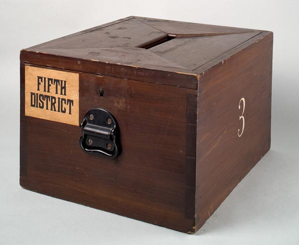 Wooden Ballot Box, by the Smithsonian Institution. Public domain via Wikimedia Commons.