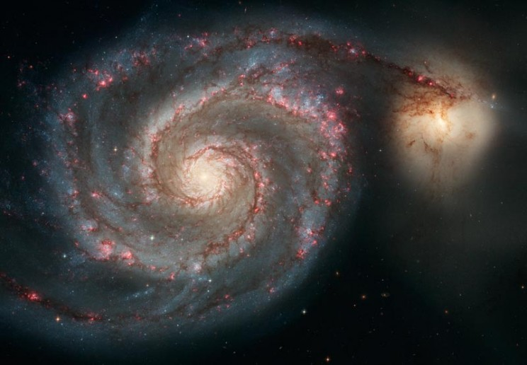 Pinwheel and whirlpool spiral galaxies, a.k.a. M101 and M51.