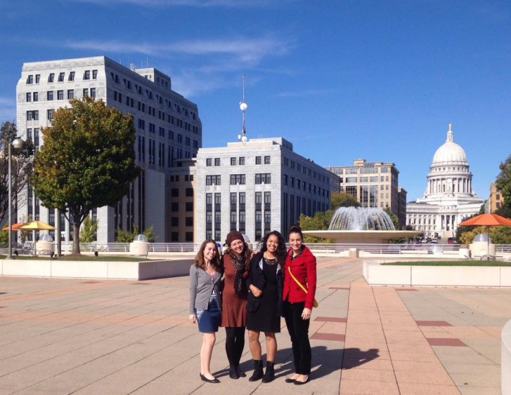 SPOHP staff posing excitedly during the OHA Annual Meeting in Madison, WI.