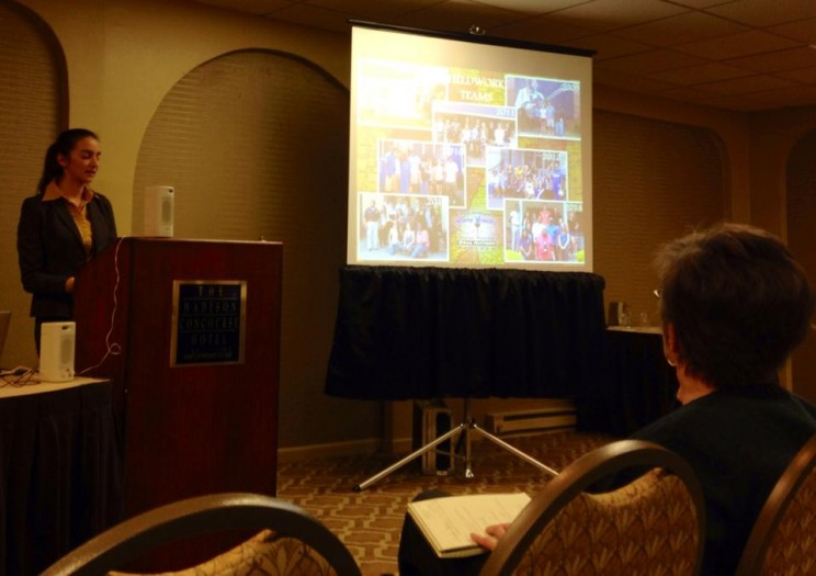 Sarah Blanc discussing fieldwork at the OHA Annual Meeting