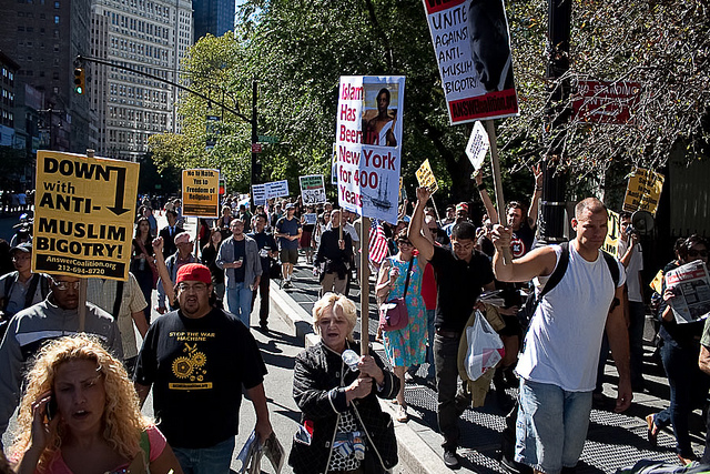 NYC Pro-Muslim Rally Marching On Sept. 11th, 2010. Photo by Viktor Nagornyy. CC by 2.0 via Flickr.