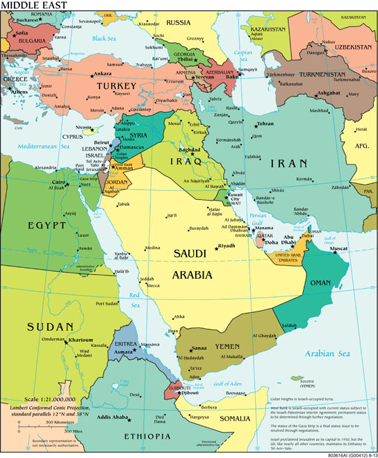 """""Political Middle East"" CIA World Factbook"" by Central Intelligence Agency - https://www.cia.gov/library/publications/the-world-factbook/docs/refmaps.html. Licensed under Public Domain via Wikimedia Commons."