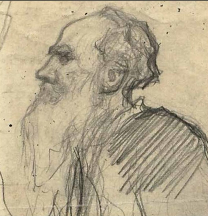 Pencil portrait of Tolstoy by Russian painter Leonid Pasternak