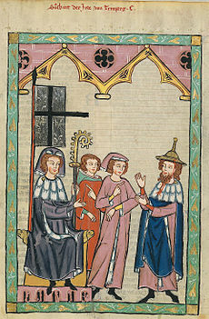 Figure 6. Süsskind of Trimberg depicted in the manuscript known as the Manesse Codex (early fourteenth century) believed to be from Zurich. Heidelberg, University Library, Cod. Pal. Germ. 848.