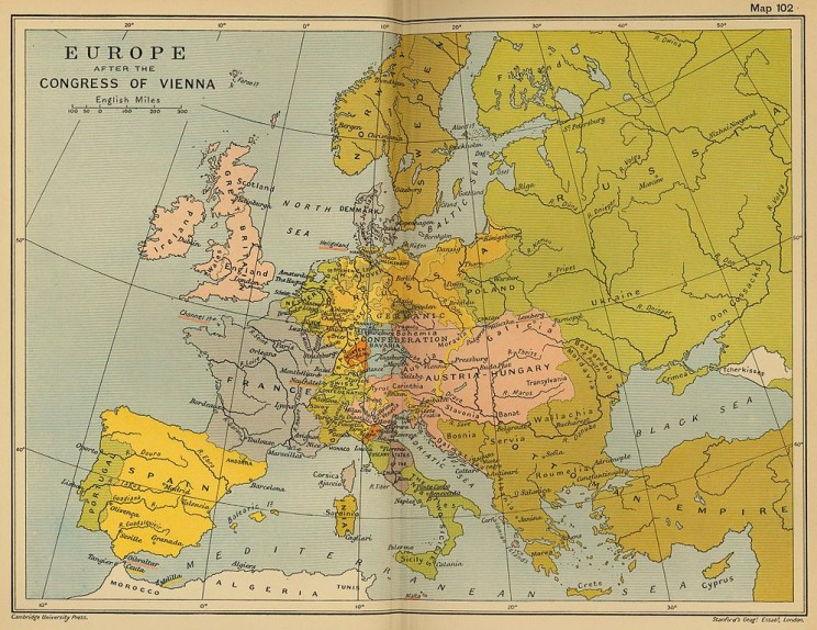 Europe after the Congress of Vienna. Public domain via Wikimedia Commons