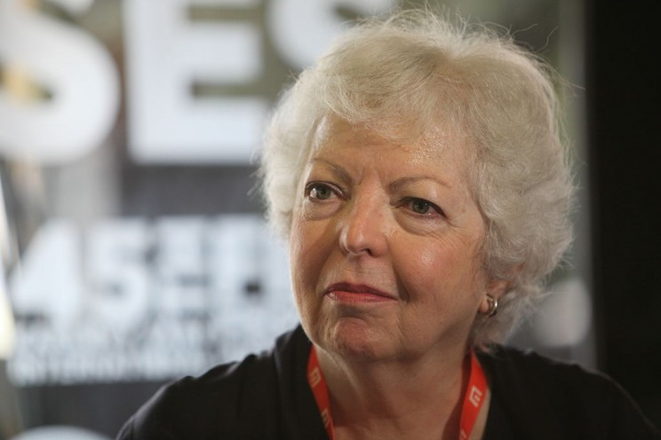 American film editor Thelma Schoonmaker at 2010 Karlovy Vary International Film Festival (2010). Photo by Petr Novák, Wikipedia. CC BY-SA 3.0 via Wikimedia Commons.