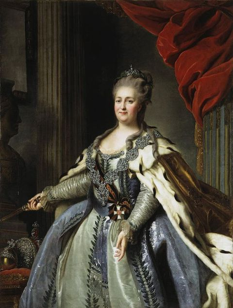 Portrait of Catherine the Great, Empress of Russia (1729-1796), after Alexander Roslin and Fedor Rokotov via Wikimedia Commons [public domain]
