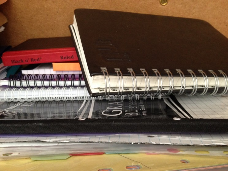 Pile of notebooks for Molly Andrew's son. Courtesy of the author.