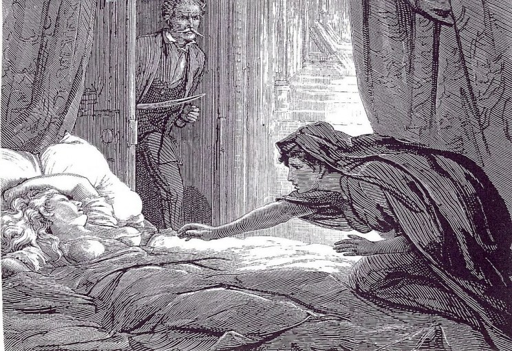 Illustration in Carmilla, Joseph Sheridan Le Fanu's vampire story, by David Henry Friston. Public domain via Wikimedia Commons.